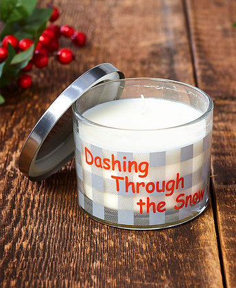 Make Mine Country Plaid Candle-Dashing Through the Snow