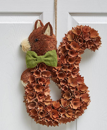 Harvest Wood Curl Wreath - Squirrel