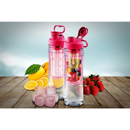 Fruit Infuser Tritan 28-ounce Water Bottle with Reusable Ice Cubes- Pink