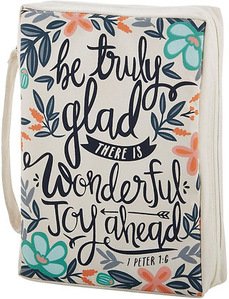 Faithworks Canvas Bible Book Cover- Be Truly Glad