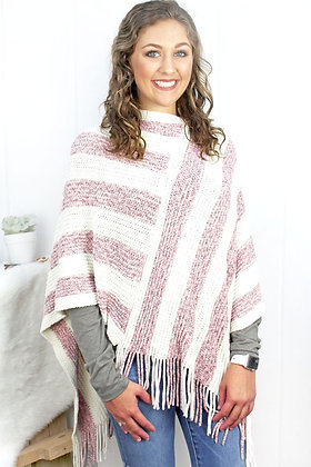 WEEKEND IN HAMPTON STRIPES PONCHO- PINK