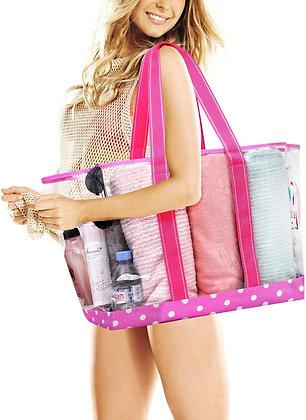 Beach Bag Clear PVC Tote - Pink