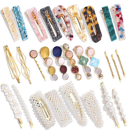 28 Pc Pearl and AcrylicHair Clips Set