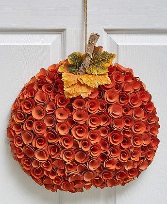 Harvest Wood Curl Wreath - Pumpkin