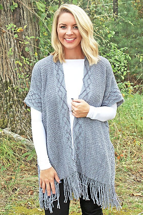 AT THE BAY CHENILLE VEST- GRAY