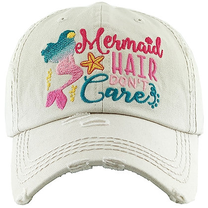 ​Mermaid Hair Dont Care Hat ​- White