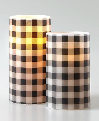 2 Farmhouse LED Flameless Candles Set - BLACK