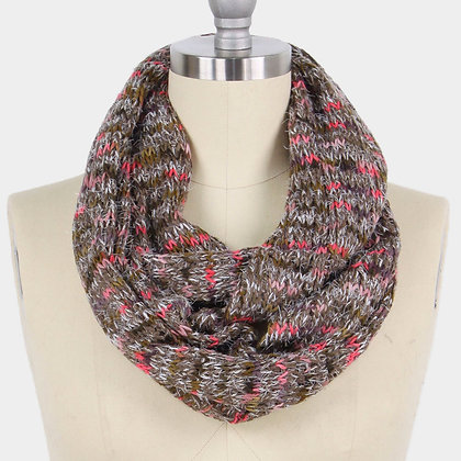 MULTI COLOR YARN KNIT INFINITY SCARF-Taupe