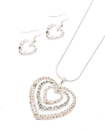 Silvertone Heart Necklace & Earring Set