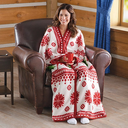 Nordic Snowflake Cuddle Fleece Wrap -RED