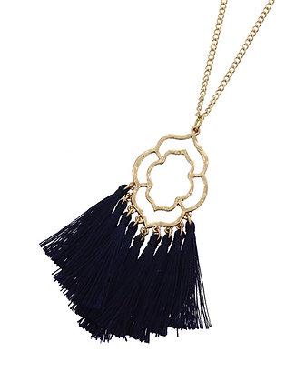 Filigree Fringe Necklace - Navy