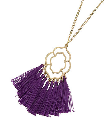 Filigree Fringe Necklace -Purple