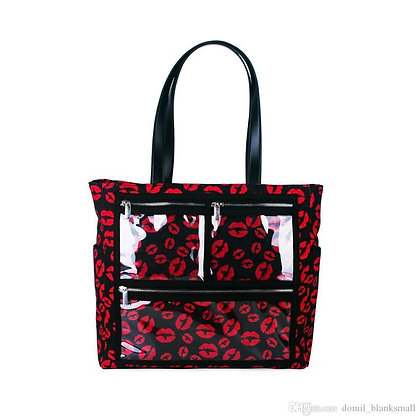 Canvas Display Bag with Clear Pockets Display Tote Bag - RED LIPS