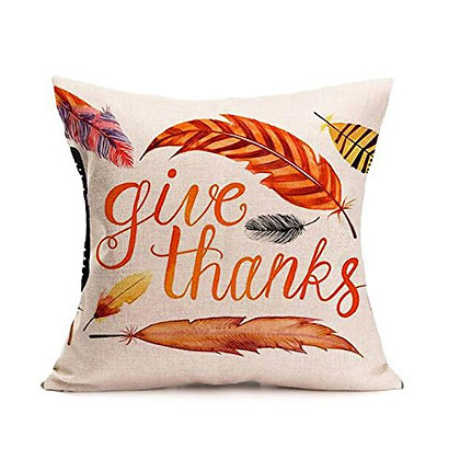 Thanksgiving Themed Pillow Cover -Give Thanks Feather