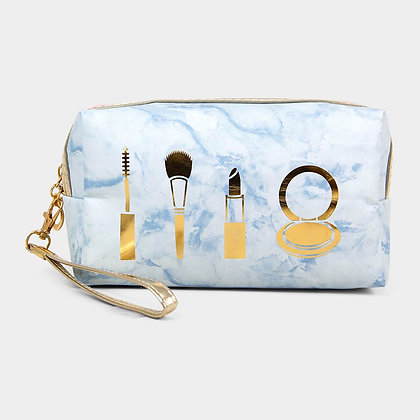 MARBLE MAKE UP POUCH BAG - Blue