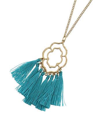Filigree Fringe Necklace - Turquoise