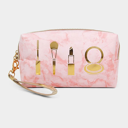 MARBLE MAKE UP POUCH BAG - Pink