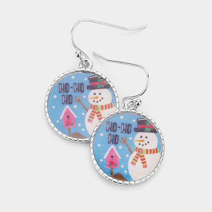 SNOWMAN METAL TRIM ROUND DANGLE EARRINGS