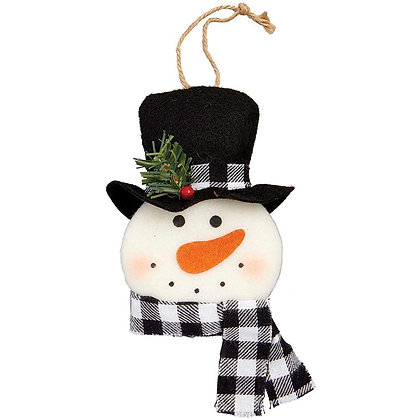 Rustic Snowman Head Christmas Ornament - Scarf color will vary
