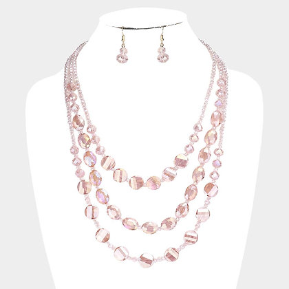 MULTI STRAND CRYSTAL BEAD LAYERED NECKLACE- Peach