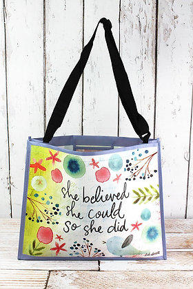 SHE BELIEVED SHE COULD WIDE TOTE BAG