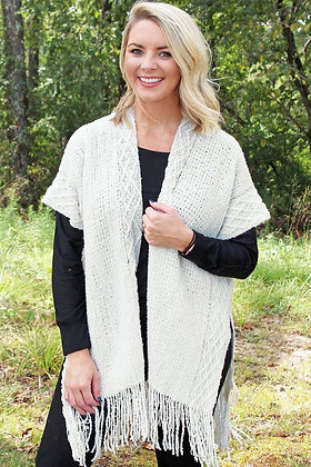 AT THE BAY CHENILLE VEST-IVORY