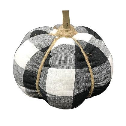 Plaid Fabric Pumpkin- Black and White Buffalo Plaid