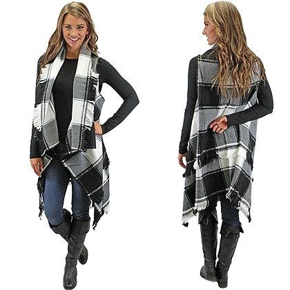 Plaid Vest With Fringe -Black and White