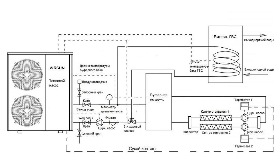 Схема монтажа теплового насоса AIRSUN