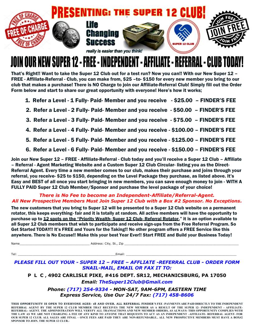 11AASUPER 12 FREE AFFILIATE CLUB SIGN UP