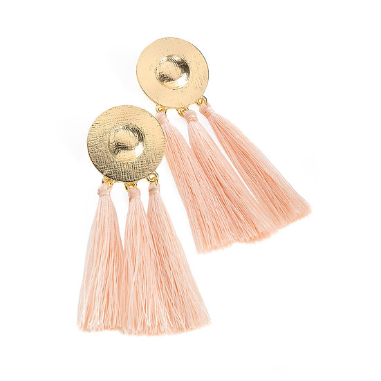En vie Jewellery Gold colour peach tassel earring