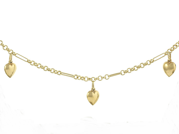 En-Vie™ jewellery 9ct Handmade Heart Bracelet, beautifully designed with gold hearts attached to the chain, 19cm in length