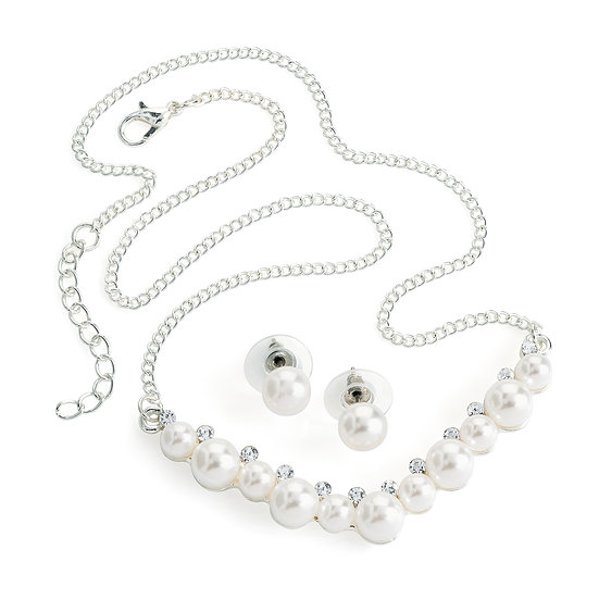 Silver colour crystal and white pearl effect chain necklace and stud earring set