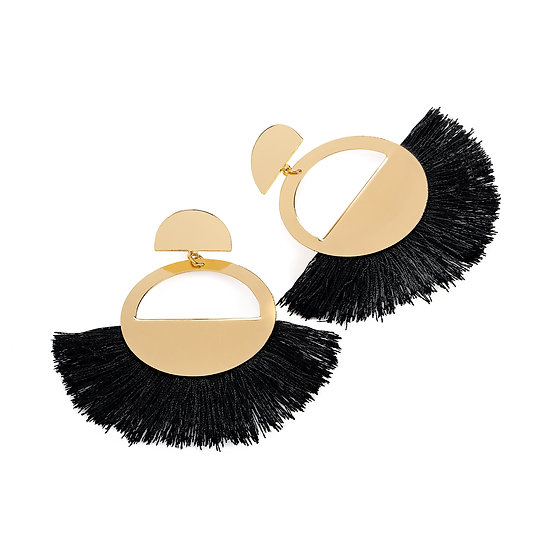 En vie Jewellery Gold and black colour thread round tassel earring