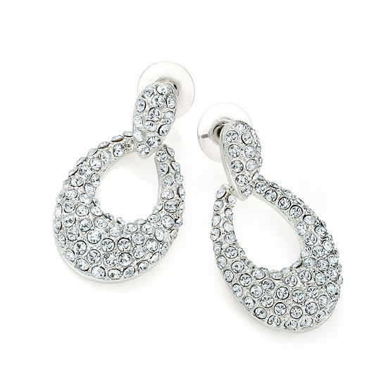 Silver colour crystal oval drop post earring