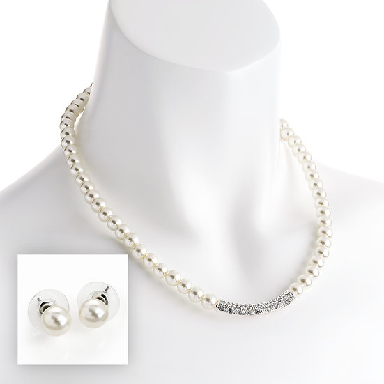 Silver colour cream pearl effect crystal bead necklace and earring set