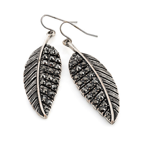 Burnished silver and hematite crystal colour leaf design earring