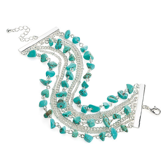 En vie Jewellery Seven row silver colour turquoise effect bead chain bracelet