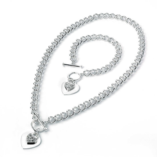 Two piece silver colour crystal charm heart necklace and bracelet set