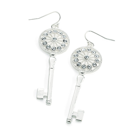 En vie Jewellery Silver colour crystal key drop earring