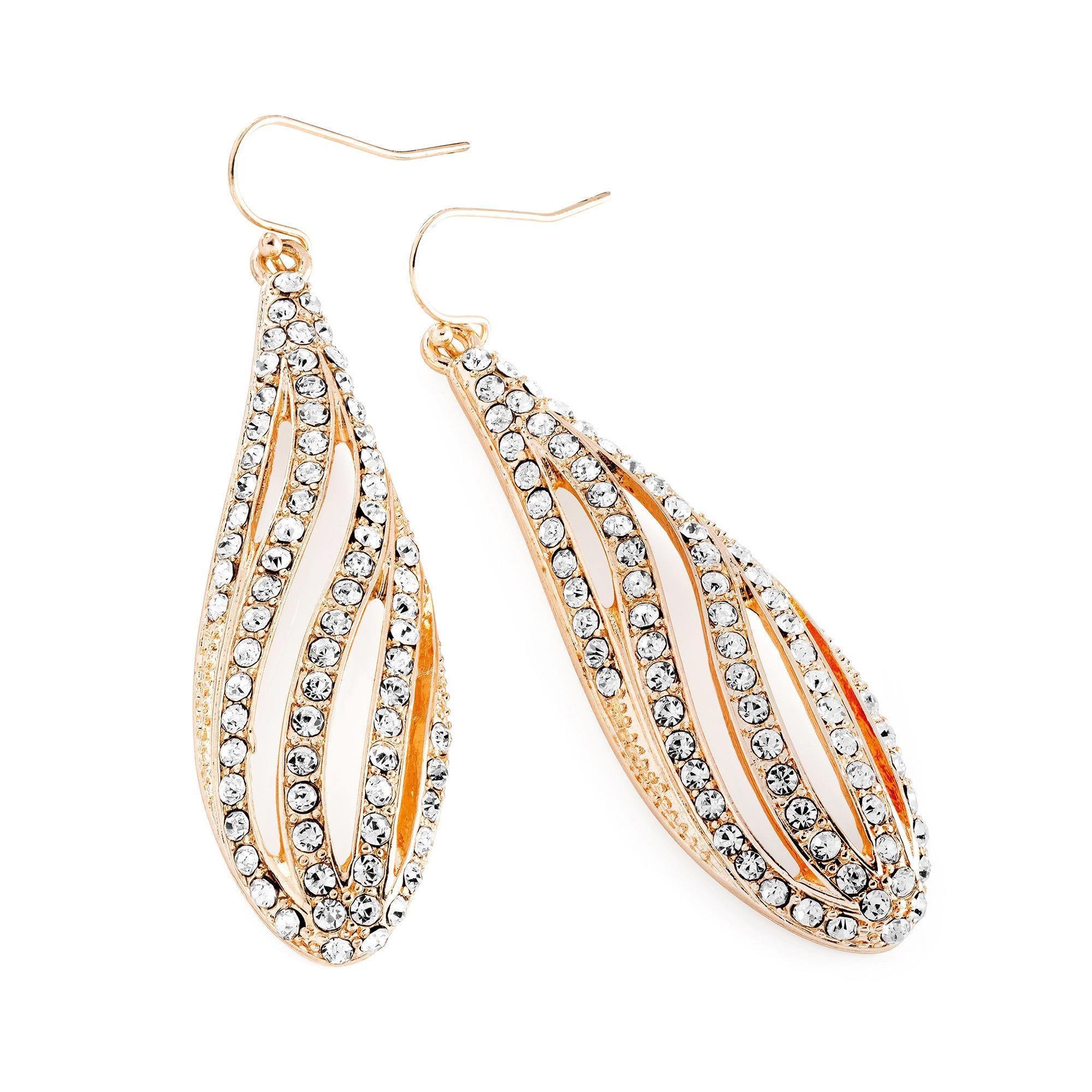 7d1c96aa0244b Light rose gold colour crystal oval design drop earring