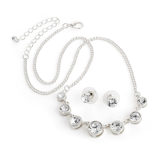 Silver colour crystal necklace and studs