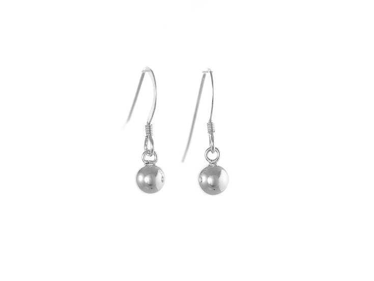 En-Vie™ jewellery Silver, 6mm, Plain Bead Dropper Earrings, Hookwire Fittings, Approx. weight 1.22 GMS