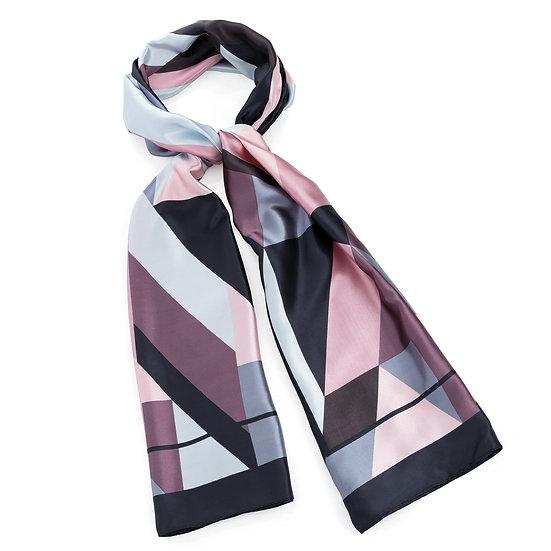 En vie Jewellery Blue, pink and grey tone satin look scarf