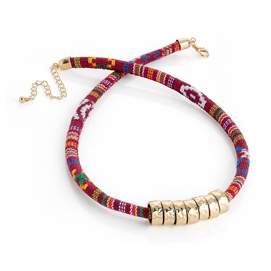 En vie Jewellery Red tribal print, gold colour bead rope necklace