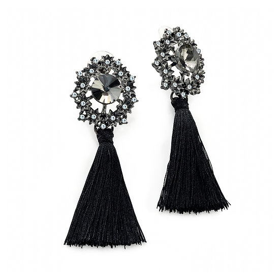 En vie Jewellery Hematite, crystal and black hematite colour bead black tassel earring