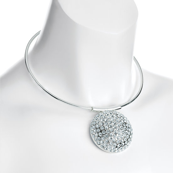 Silver colour large round crystal motif collar necklace