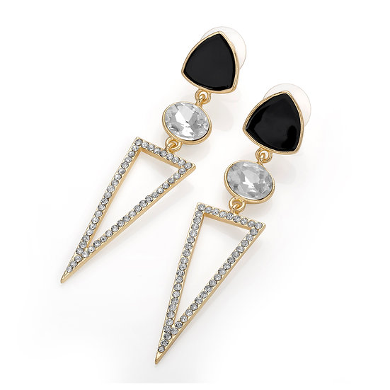 Gold colour crystal black triangle shape post earring