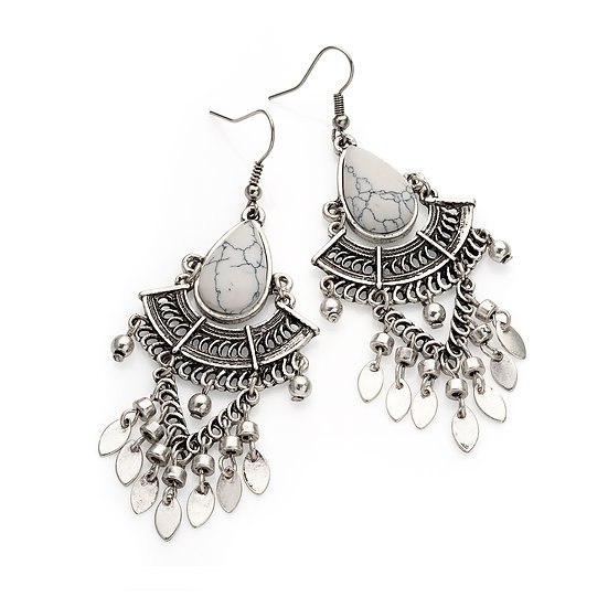 Burnished silver colour white marble effect tribal earrings