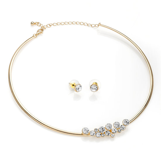 Crystal collar necklace and stud earring set